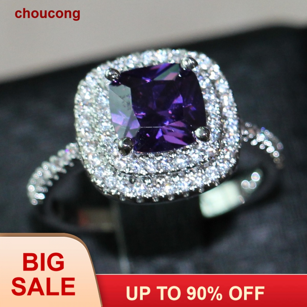 3ct choucong ungu 5A Zircon batu 925 Sterling silver Wanita Engagement Wedding Band Cincin US Ukuran 5-11 Hadiah
