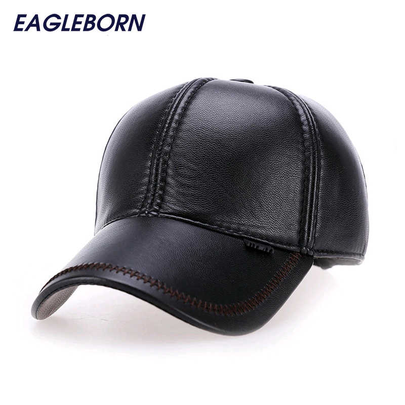 106a3ba4cf2 2017 Fashion Leather Baseball Cap Men Thicken Fall Winter Hats with Ears 6  Panel Keep Warm