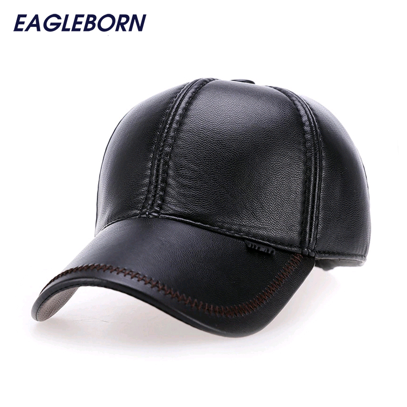 2017 Fashion Leather   Baseball     Cap   Men Thicken Fall Winter Hats with Ears 6 Panel Keep Warm Leather   Cap   Male Hats Bone casquette