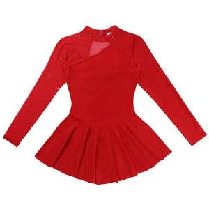Image 5 - נשים מבוגרים דמות החלקה שמלת נשים בלט שמלת התעמלות בגד גוף החלקה על שמלה ארוך שרוול צוואר הלטר ללא משענת שמלה