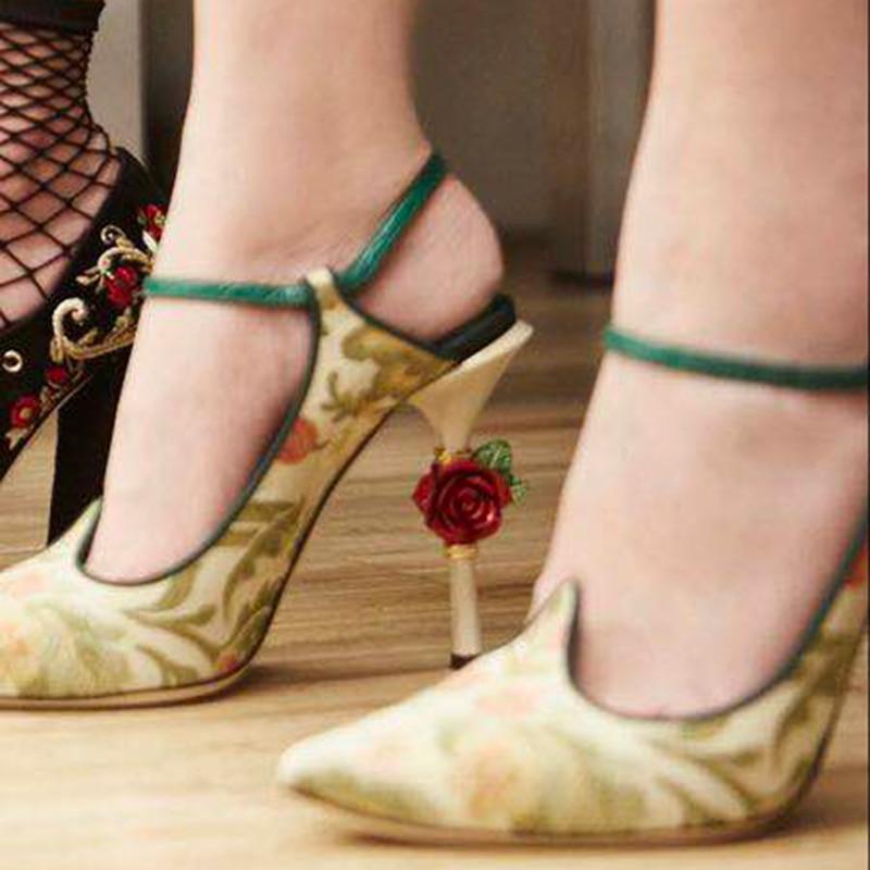 2019 Luxury Rose Flower Heel Slingbacks Elegant Pointed Toe Priting Dress Shoes Women2019 Luxury Rose Flower Heel Slingbacks Elegant Pointed Toe Priting Dress Shoes Women