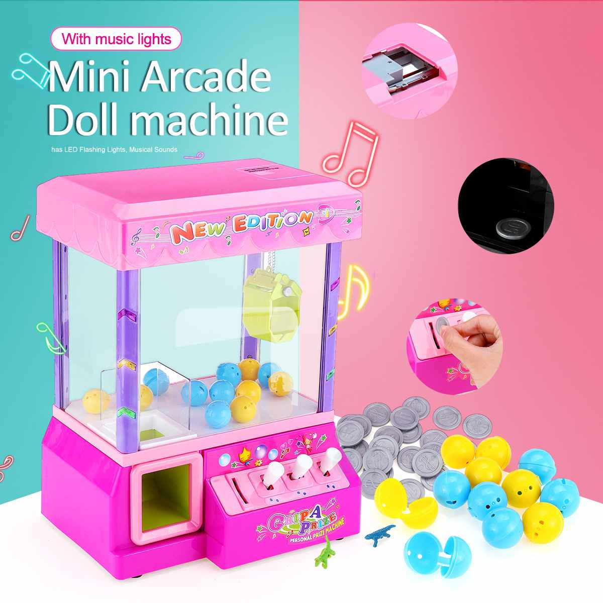 Hot Sale Kids Music Electronic Claw Game Crane Candy Doll Machine Grabber Kids Toy Home Arcade Gift