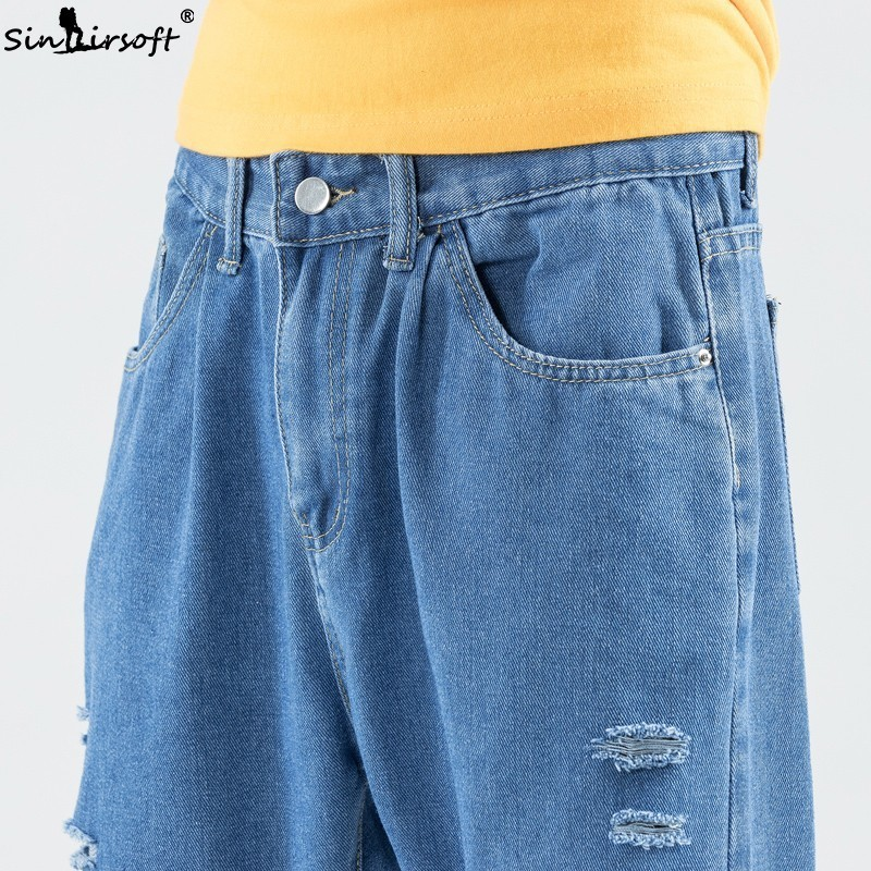 Teenagers Street Skateboard Pants Wide Leg Pants Casual Korean Cotton Soft Breathable Holes Jeans Men 39 s Large Size 27 36 New in Jeans from Men 39 s Clothing