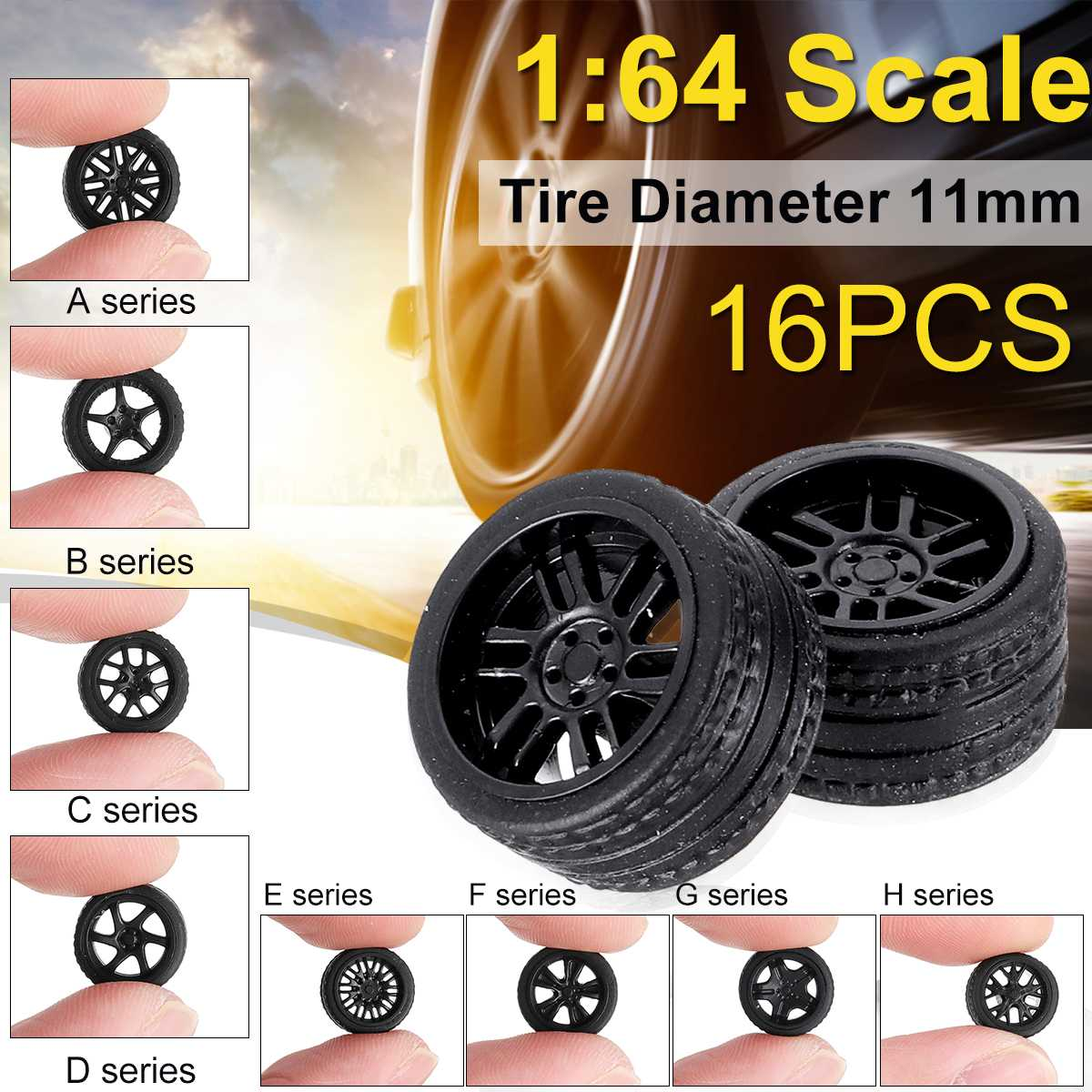 16PCS/Four Boxes ABS Rubber Wheels Tire Set Axles Vehicle Wheels Tire Modified Alloy Car Refit Wheels For 1/64 Vehicle Car Model