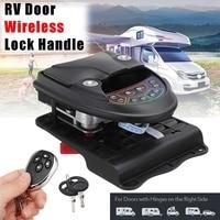 Car RV Keyless Entry Door Lock Latch Handle Knob Deadbolt RV Trailer Remote Control 3 Unlocking Methods Zinc Alloy+Plastic Black