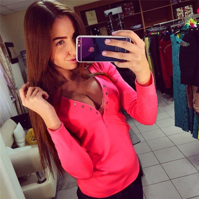Fashion Women Clothes Warm Long Sleeve Ladies V-neck Casual Sweatshirt Button Jumper Cotton Pullover Tops One Pieces