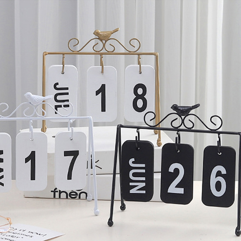 Personality Diy Bird Wrought Iron Flip Calendar Home Decoration Desk Decoration Calendar