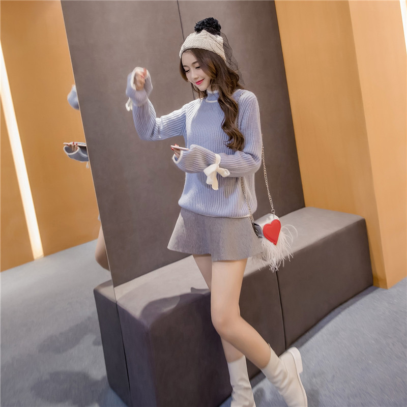 Sweaters Turtleneck Full Sleeve Regular Pullovers Flare Sleeve Bow Solid Standard Winter Women Fashion 2018 Casual