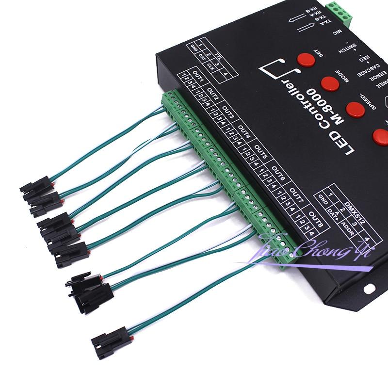 Ws2812 controlador de música led controlador M 8000 progable 8096 pixel rgb controlador para ws2812b ws2801 sk6812 módulo tira conduzida - 4