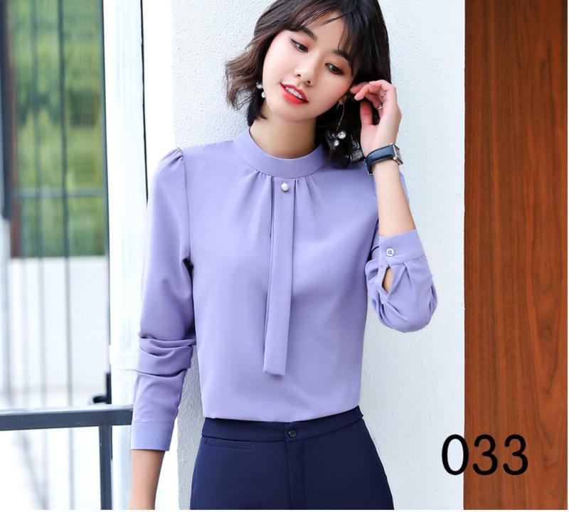 Autumn Winter Long Sleeve Fashion Sexy O Neck Shirt Women Fake Tie Formal Chiffon Blouses Office Ladies Plus Size Tops Work Wear