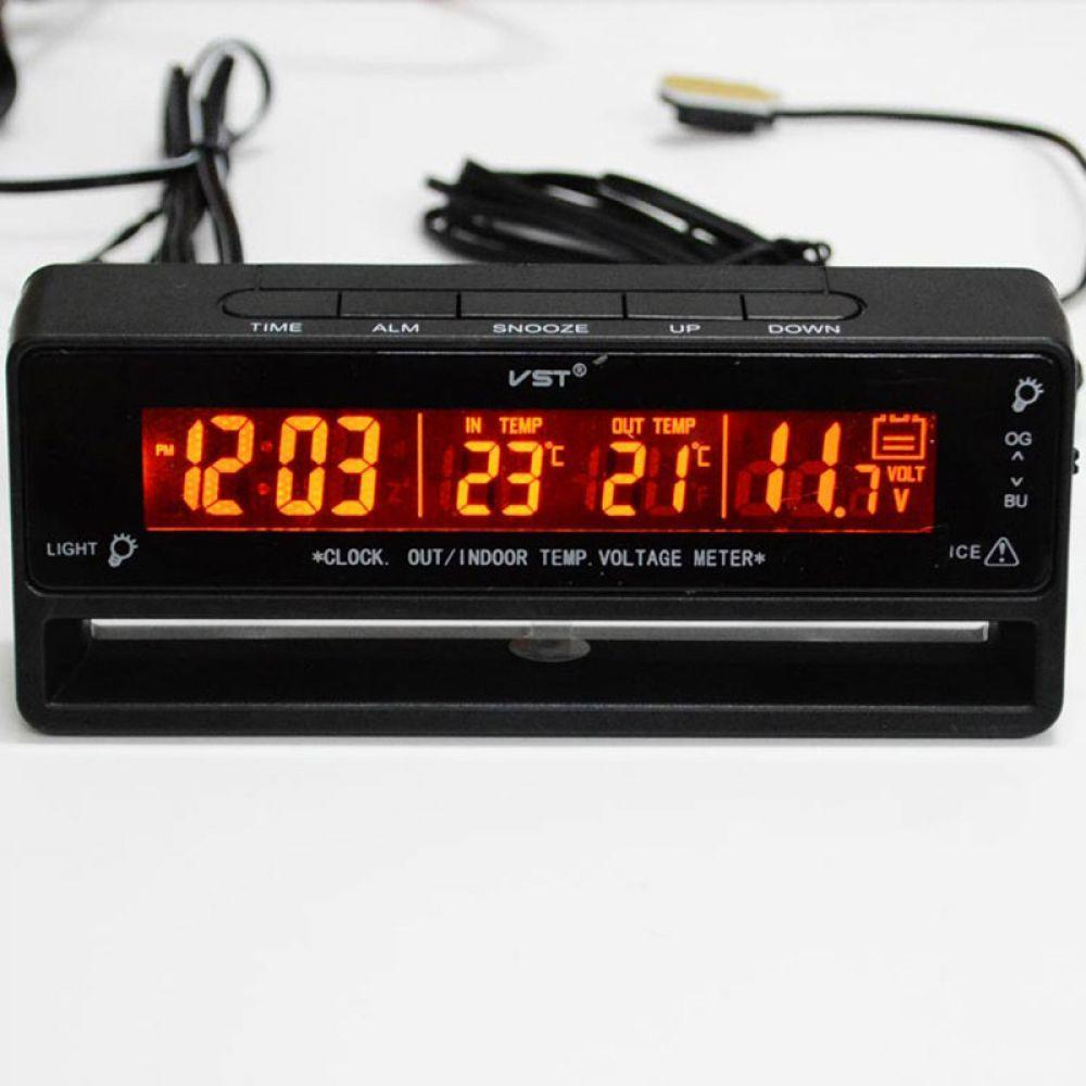 Sailnovo 3 in 1 Digital LCD Car Clock Backlight Thermometer Voltmeter Car Accessories Voltage Temperature Monitor Display Watch