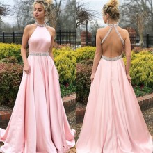 Try Everything Pink Party Dress Long Prom Diamonds Ladies Sexy Dresses Elegant Floor Length Backless Summer 2019