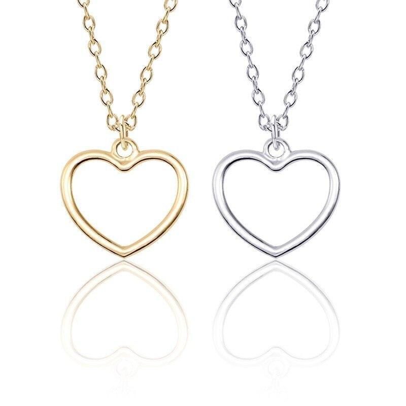Colgantes geométricos minimalistas populares a la moda DIY huecos aleación Collar de corazón de amor joyería de regalo para niñas y niños Venta Directa