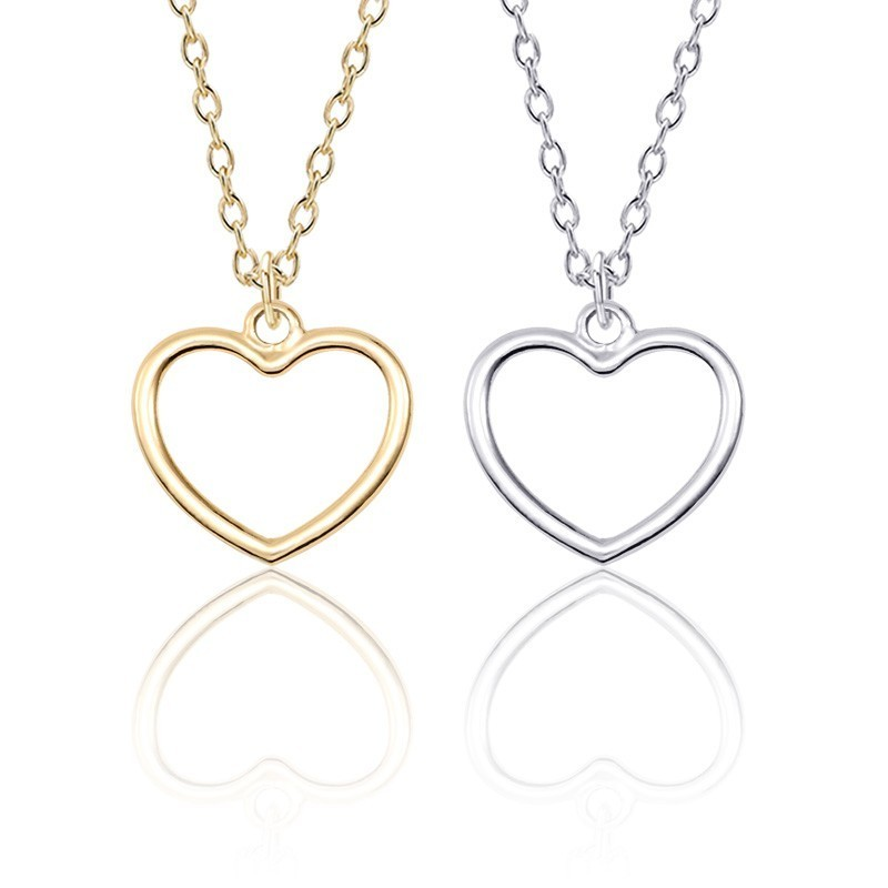 Fashion Popular Minimalist Geometric Pendant DIY Hollow Alloy Love Heart Necklace Girl Children female Jewelry Gift Direct sales