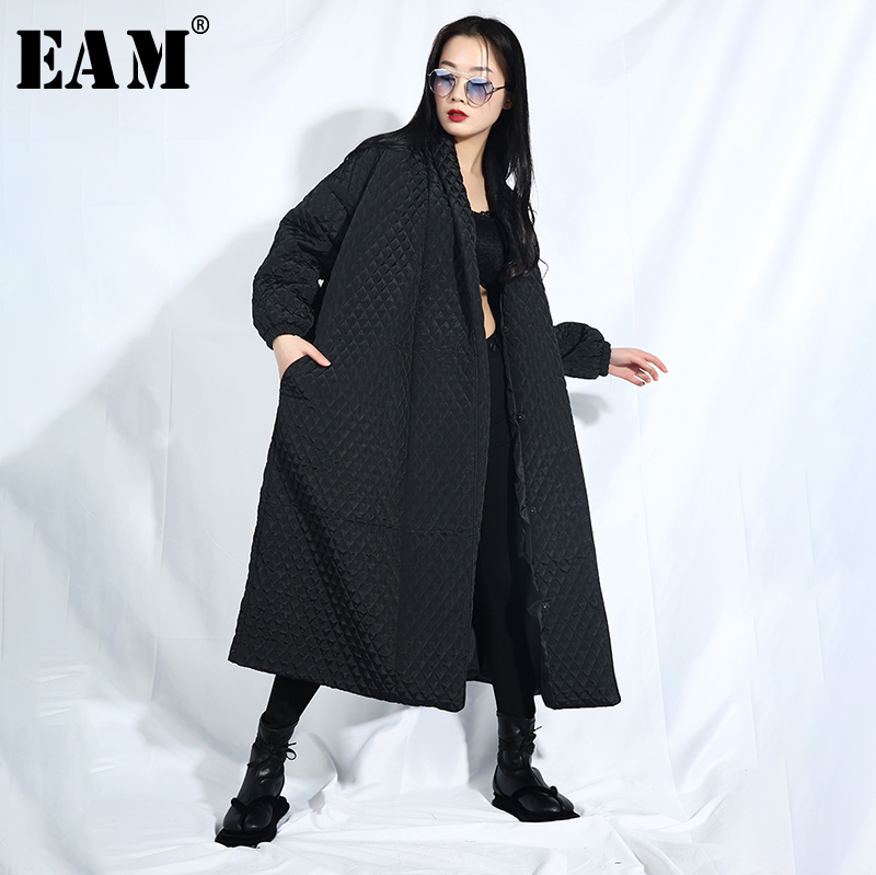 [EAM] 2019 New Spring Lapel Long Sleeve Black Back Button Split Joint Big Size Long Cotton-padded Coat Women   Parkas   Fashion WTH