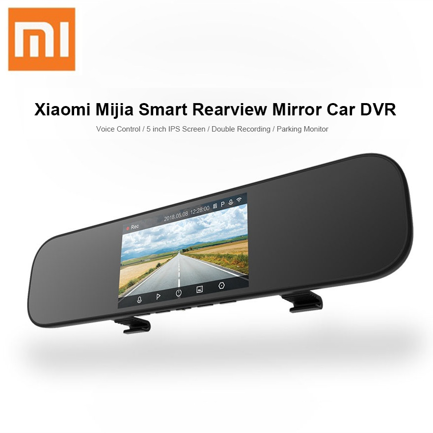 Xiaomi Mijia Smart Car Dash Camera 5 inch IPS Rearview Mirror Car DVR Voice Control Driving Recorder 160 Degrees Parking Monitor
