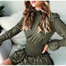 Turtleneck Polka Dot Flounce Dress Women Long Sleeve Retro Dress Party Ruched Casual Dresses Vestidos недорого