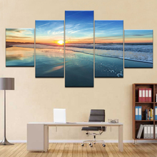 Canvas Paintings Living Room Home Decor 5 Pieces Ocean Beach Sea Waves Pictures Sunrise Seascape Poster Modular Wall Art Frame