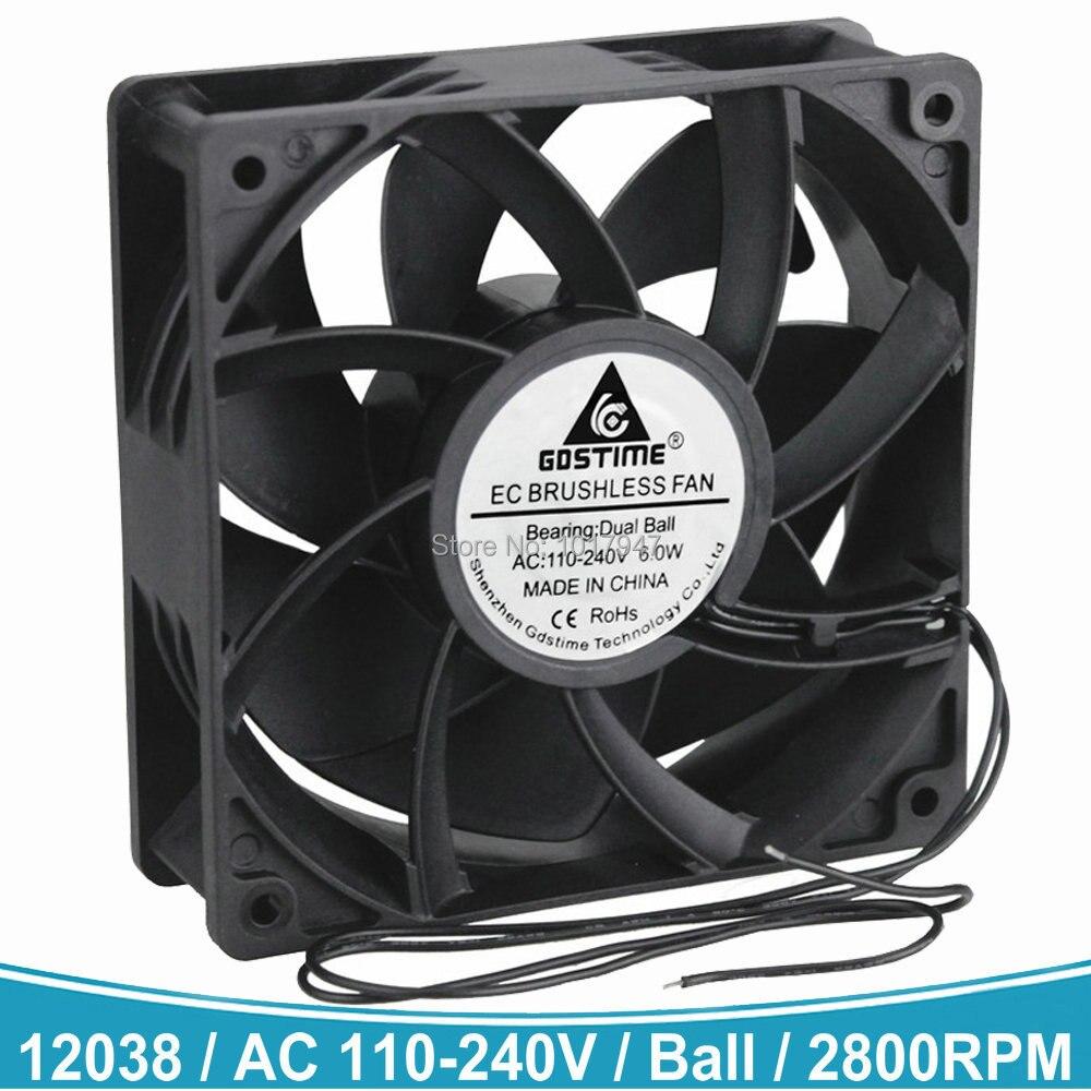 1 PCS AC 110V 115V 120V 220V 240V Radiator Cooler Fans 12cm 12038 Ball EC Brushless Cooling Fan 120mm 120mm X 38mm
