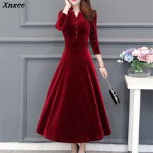 2019 Autumn Winter Elegant Velvet Dress Women Slim Fit OL Party Vintage Warm Long Plus Size Vestidos Xnxee