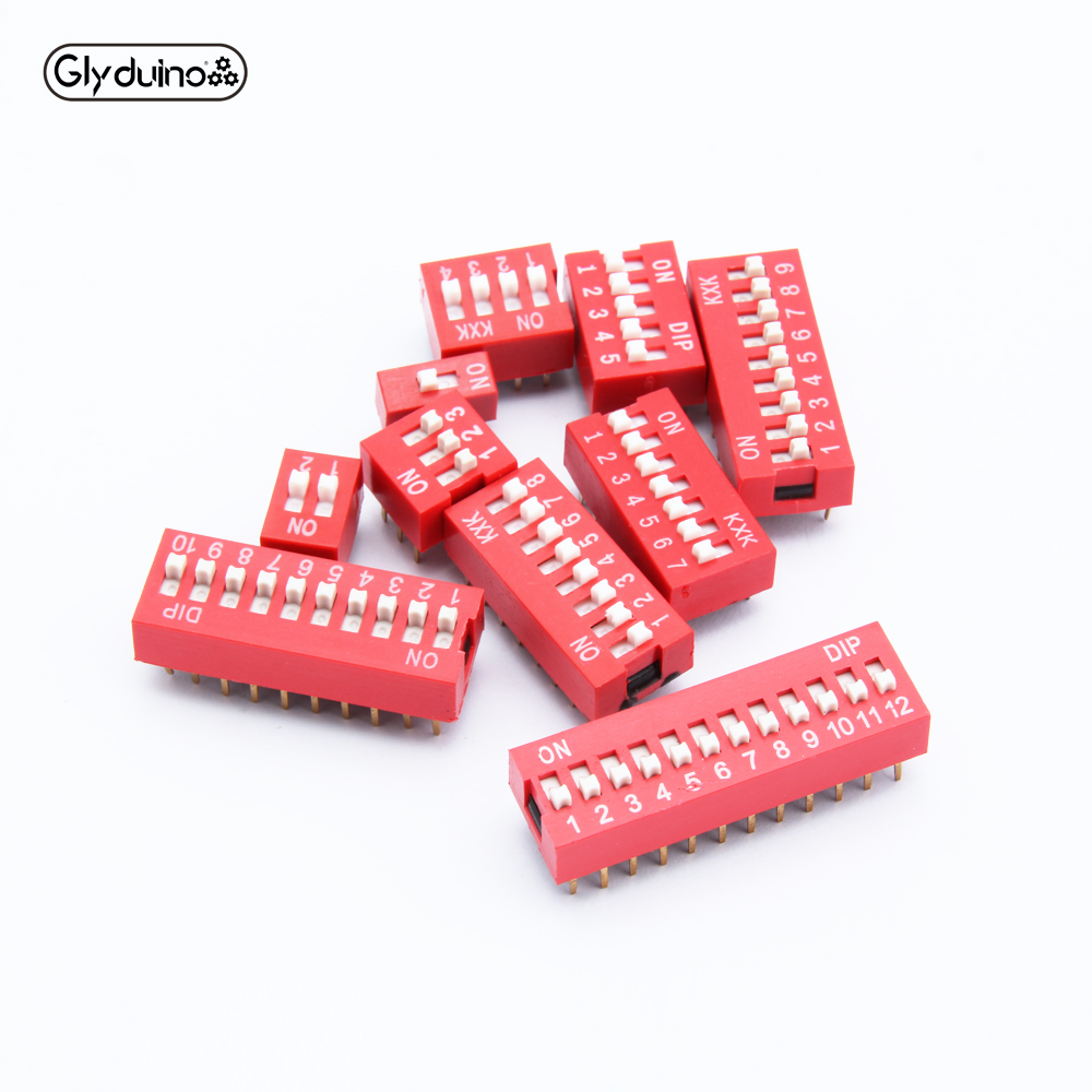 Glyduino 5PCS/Lot Slide Type Switch Module 11 Size (1-12 Bit) 2.54MM Spacing DIP Coding Toggle Switches For Arduino