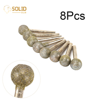 8Pcs 16mm Head 60# Round Ball Shape Diamond Coated Grinding Head Mounted Burrs Bits Rotary Engraving Tool with 1/4 Shank