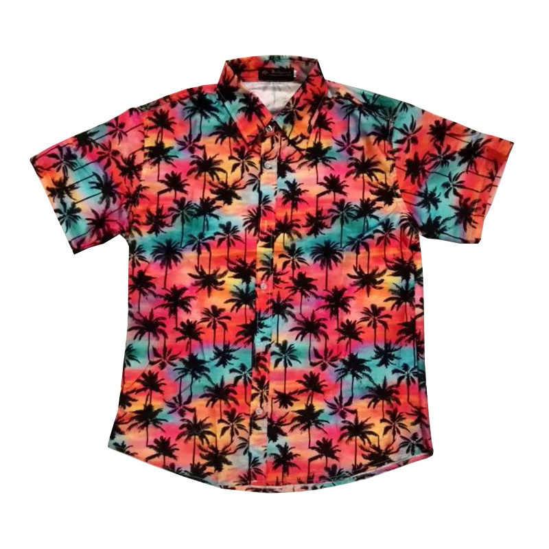 FDWERYNH 2018 Fashion Mens Cotton Short Sleeve Hawaiian Shirt Summer Casual  Floral Shirts Men Plus Size 15f1495b09e0