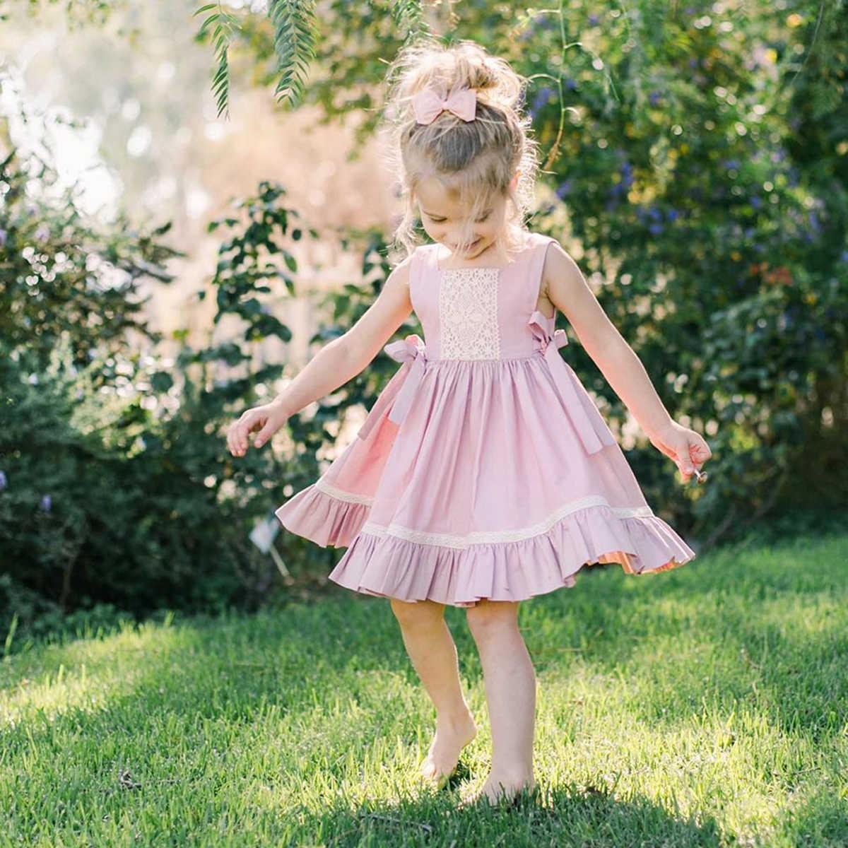 a5df0182da Lace Flower Princess Kid Baby Dress For Girls Sleeveless Bow Tutu Party  Wedding Pageant Dress Sundress
