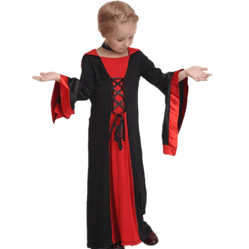 9730895f9 Kids Black And Red Hooded Gothic Vampire Robe Halloween Costume Vampire  Dress For Little Girls CSD21N2-in Girls Costumes from Novelty & Special Use  on ...