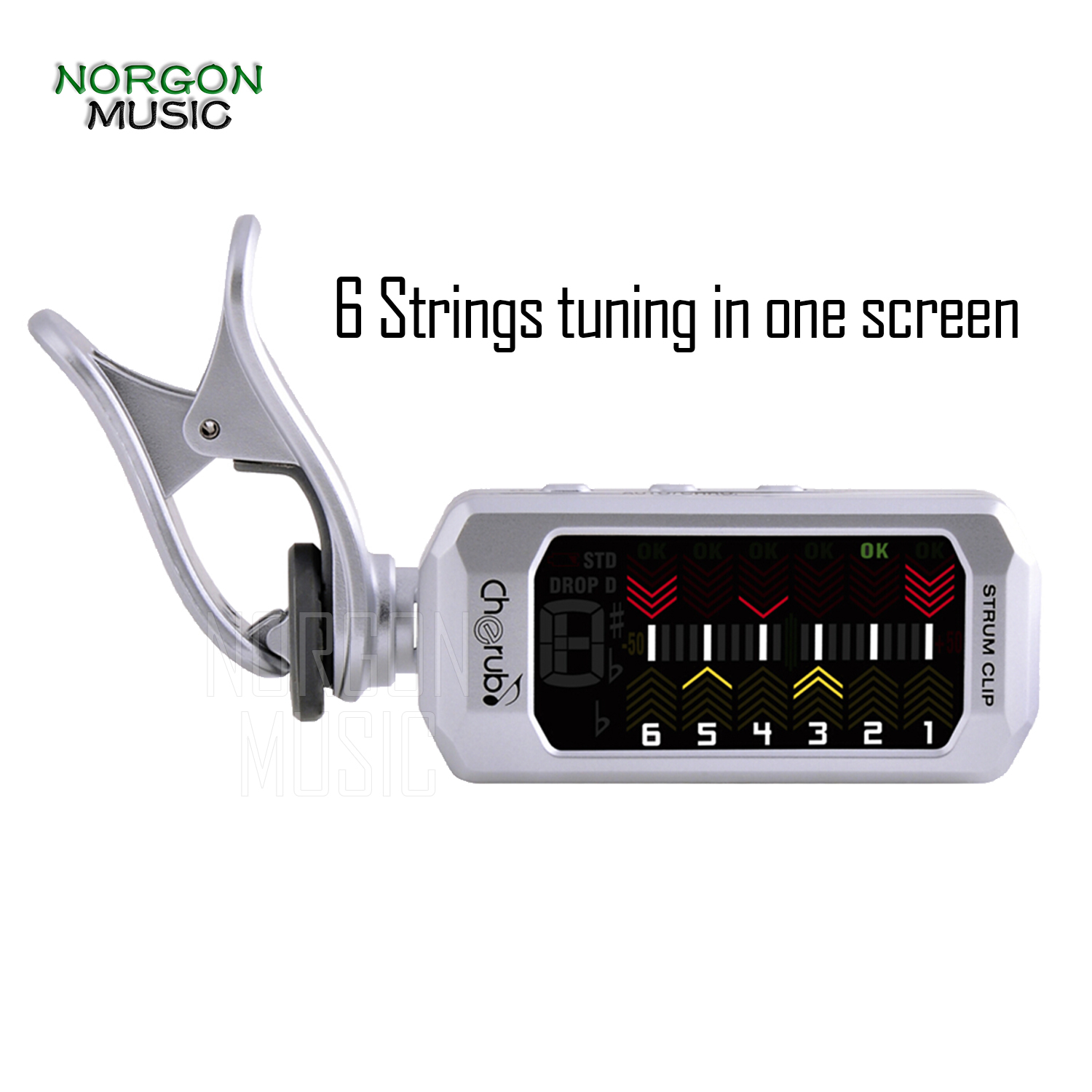 Cherub Clip-on Guitar Tuner USB Rechargeable Lithium Battery Tunning 6 Strings Simultaneously Guitar Parts AccessoriesCherub Clip-on Guitar Tuner USB Rechargeable Lithium Battery Tunning 6 Strings Simultaneously Guitar Parts Accessories