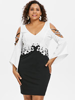 Wipalo Plus Size 5XL Criss Cross Flare Sleeve Fitted Dress Cold Shoulder V  Neck Knee Length 6c2851f1a348