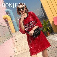 BONJEAN Letters Pattern Red T Shirt 2019 Summer Tops and Tees Short Sleeve Long Shirts with Sequin Casual Clothing BJ1045