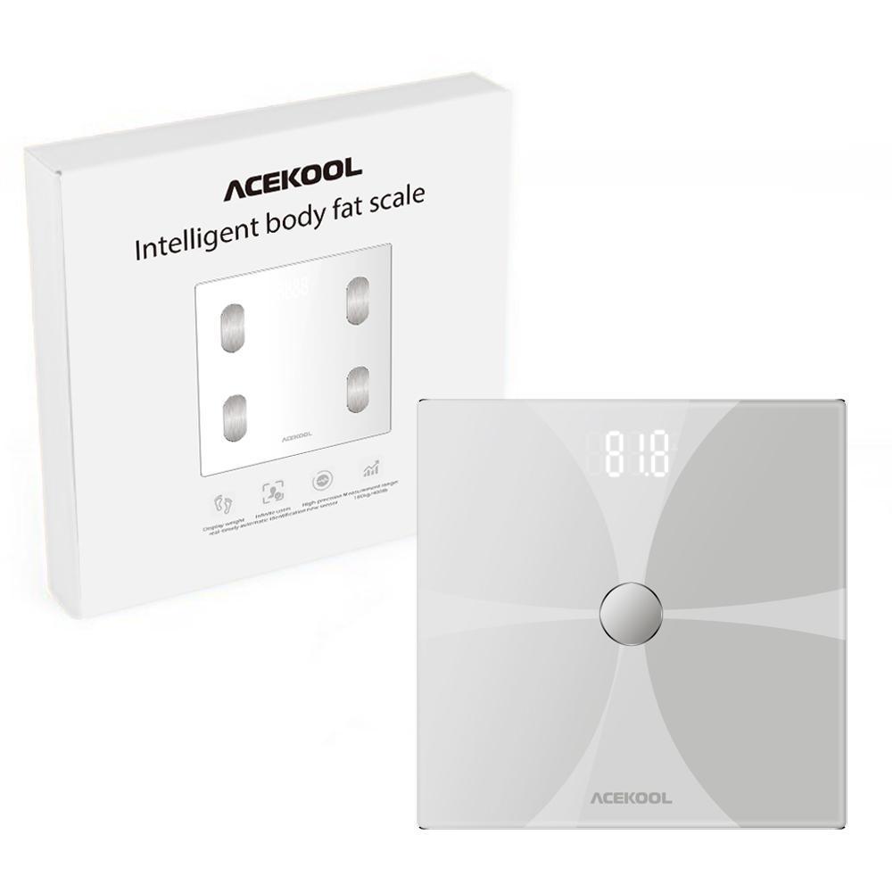 Adeeing Bluetooth Corpo Escala de Gordura Escala de Banheiro Digital Sem Fio Inteligente Grande Lcd Retroiluminado de Alta precisão Medições - 6