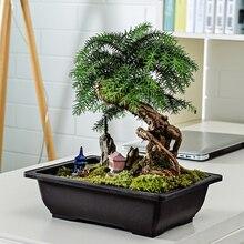 Vaso plantador de bonsai, ramos de flores, imitação de plástico, retângulo para bonsai, bacia do berçário, suprimentos de garfo