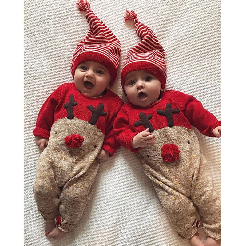 2pcs Newborn Baby Boy Girl Reindeer Romper Jumpsuit Clothes Outfits Trendy Christmas Baby Boy Girl Romper 0 24m Rompers Aliexpress