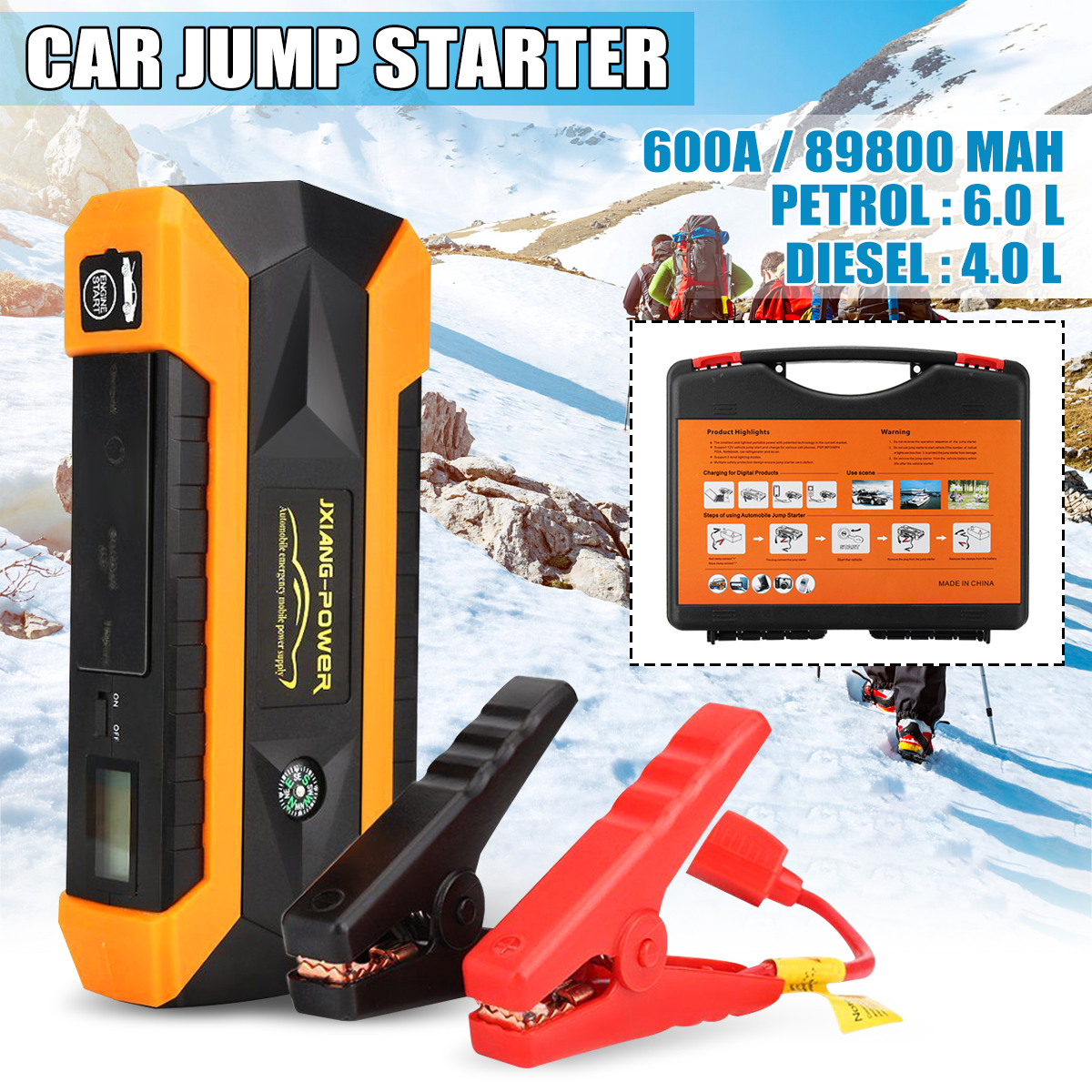 1set 89800mAh 12V 4USB Car Battery Charger Starting Car Jump Starter Booster Power Bank Tool Kit For Auto Starting Device new 12v 89800mah portable 4usb car jump starter power bank tool kit booster charger battery automobile emergency led light