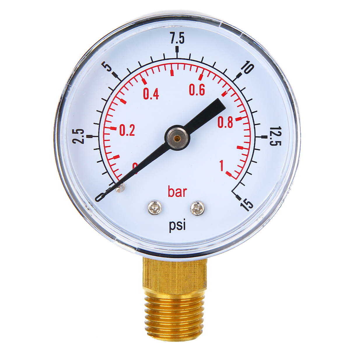 New Low Pressure Pressure Gauge 50mm Diameter 0-15 PSI 0-1 Bar 1/4 BSPT For Fuel Air Oil Gas Water 70*50*22mm