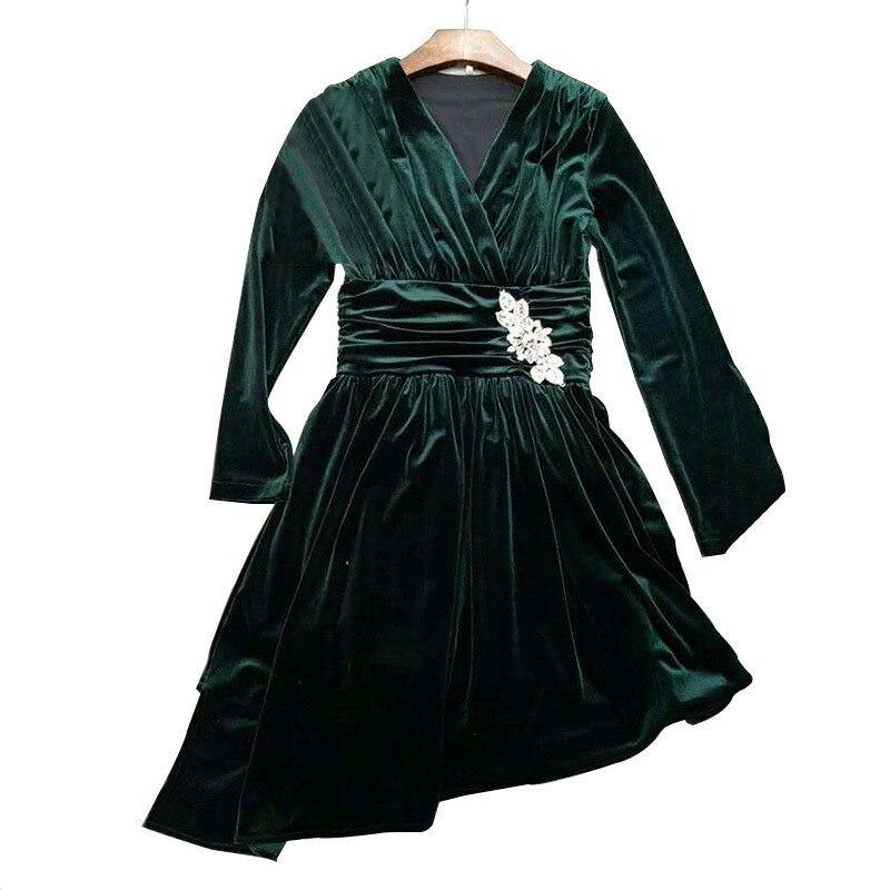 Élégante Féminine Printemps Taille 2019 V Asymétrique R210 Robes Green Haute Col Manches Mode À Diamants Femmes Robe Longues Velours Hw65qpC