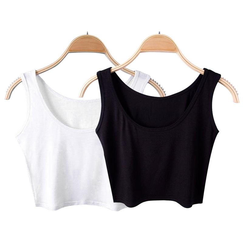 2018 Summer Slim Render Short   Top   Sexy Women Sleeveless U Croptops   Tank     Tops   Solid Black/White Crop   Tops   Tube Vest