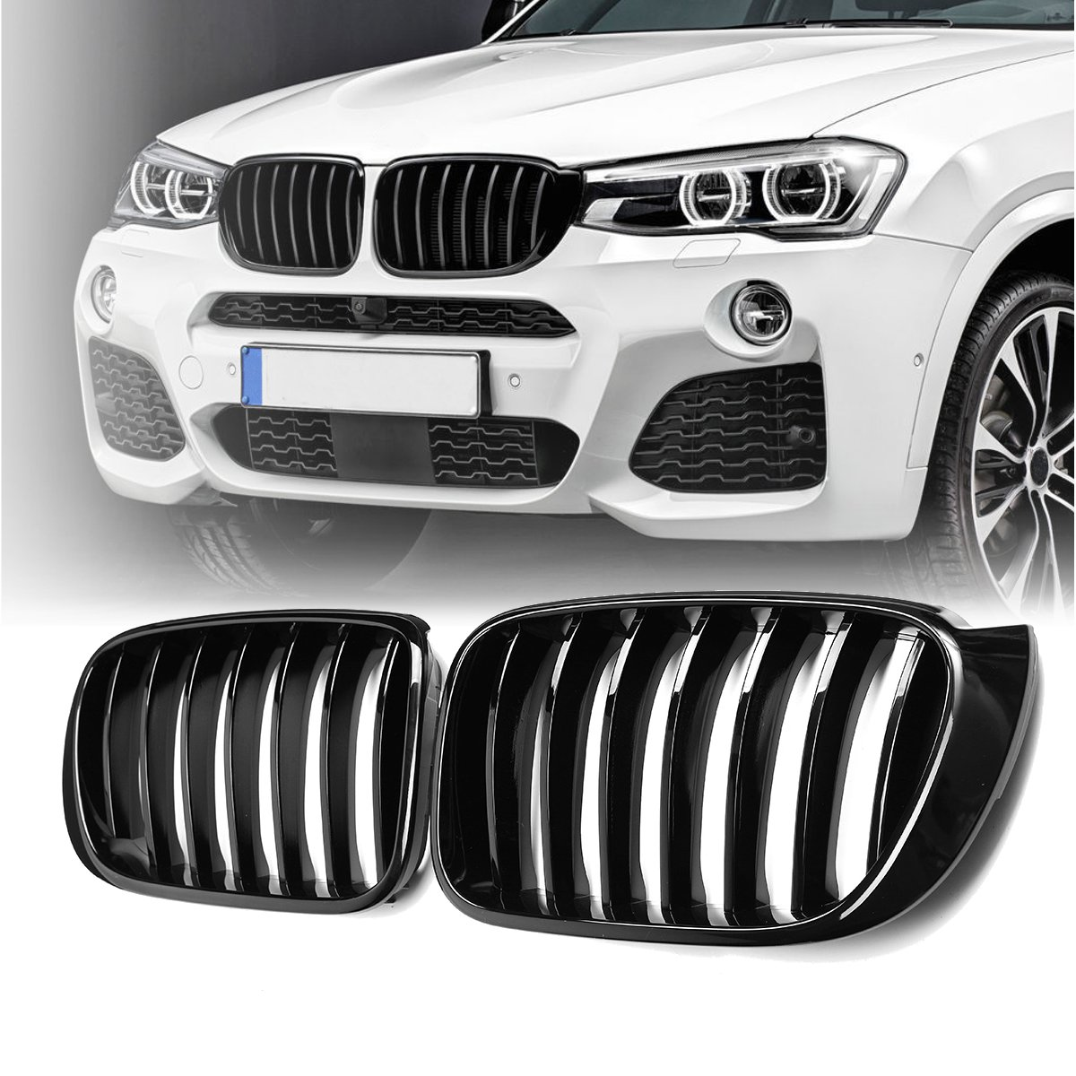 Gloss Matt Black Front Bumper Kidney Grille Mesh For BMW X3 F25 X4 F26 2014 2015 2016 2017 1-Slat ABS Replacement Car Styling