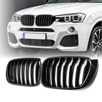 Gloss Matt Black Front Bumper Kidney Grille Mesh For BMW X3 F25 X4 F26 2014 2015 2016 2017 1 Slat ABS Replacement Car Styling