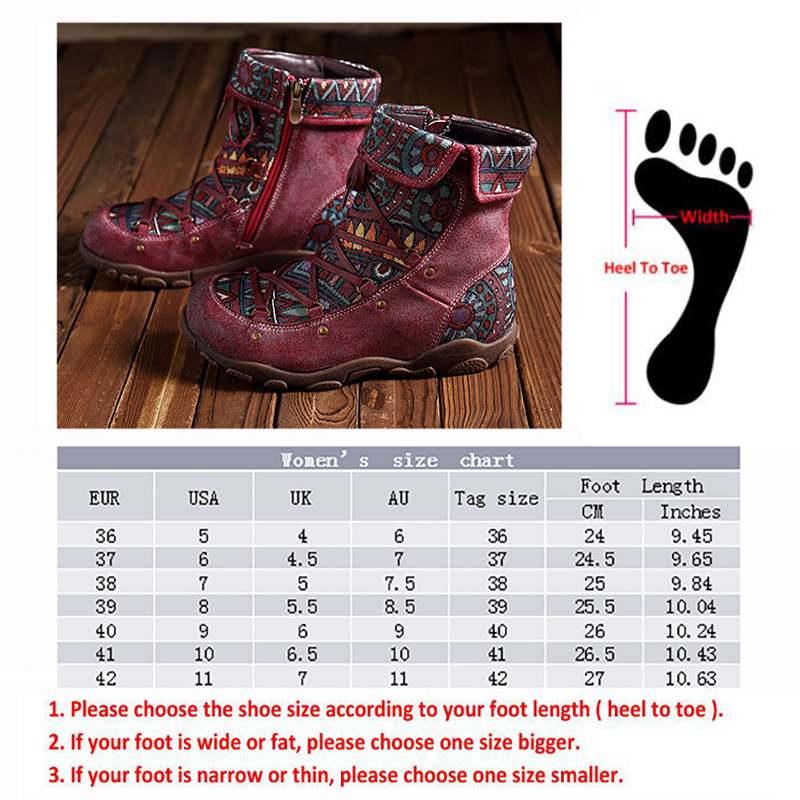 Ayakk.'ten Ayak Bileği Çizmeler'de Socofy hakiki deri motosiklet çizmeleri Kadın İlkbahar Sonbahar Bohemian Vintage Stil Socofy yarım çizmeler Bayan Ayakkabıları Kadın Patik'da  Grup 3