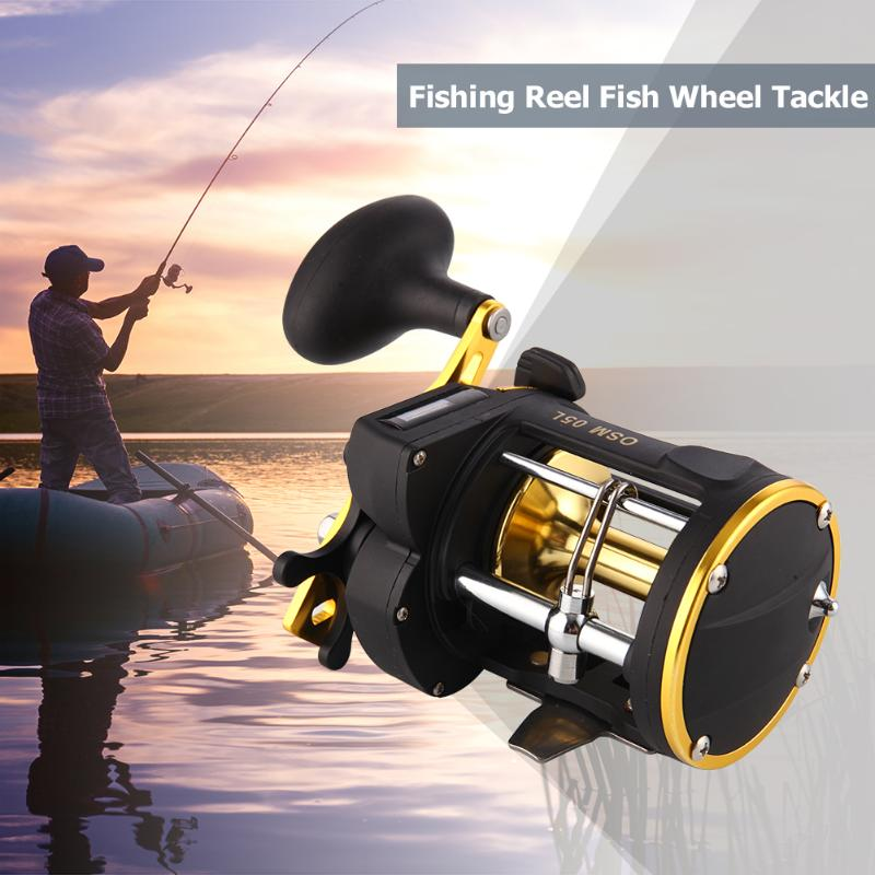High Strength Fishing Wheel Metal Drum Reel Fishing Line Counter Trolling Reels 3BB Depth Finder Counter