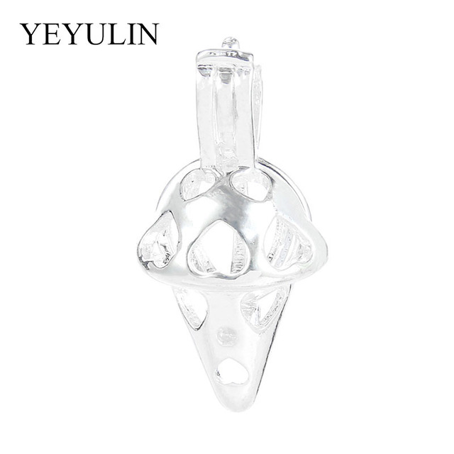 Ice Cream Pendant Locket Vintage Silver Golden Pearl Cage  For DIY  Necklace Women Aromatherapy Essential Oil Diffuser
