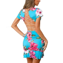 купить Women Sexy V-neck Criss Cross Back Dress Flora Print Dress 2019 Summer Short Sleeve Ruffles Hem Folds Halter Mini Party Dresses дешево