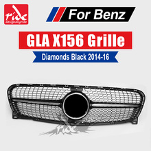 X156 Diamonds Front Grille ABS Black For Mercedes Benz GLA-Class X156 GLA180 GLA200 250 radiator mesh without central logo 14-16 for mercedes benz gla x156 front grille silver abs gla45 amg gla180 gla200 gla250 without central logo front racing grille 14 16