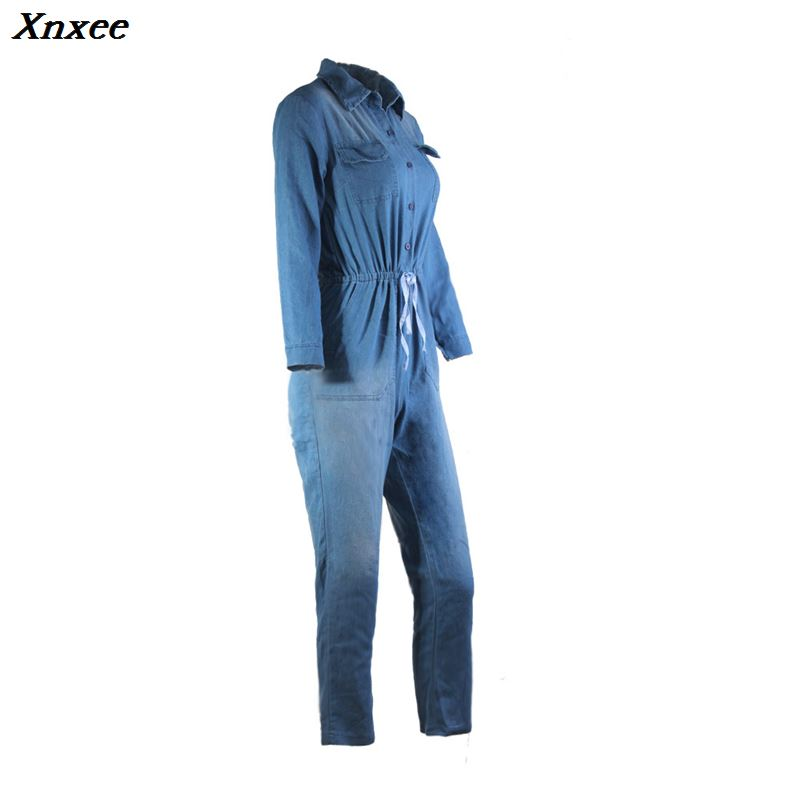 Xnxee Vintage Plus Size Jeans Jumpsuit Turn Down Collar Long Sleeve Bandage Denim Rompers Women Bodysuits Combinaison S 3XL in Jumpsuits from Women 39 s Clothing