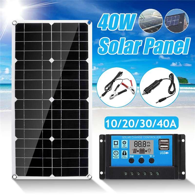 Nouveau Double panneau solaire USB 40 w avec contrôleur de régulateur de panneau solaire USB Double 10/20/30/40/50A ect pour les lumières de voiture yacht RV Charge