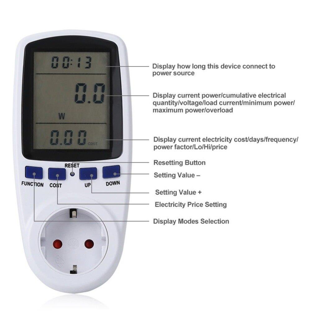 EU Digital Wattmeter Power Meter Energy Meter Voltage Wattmeter Power Analyzer font b Electronic b font