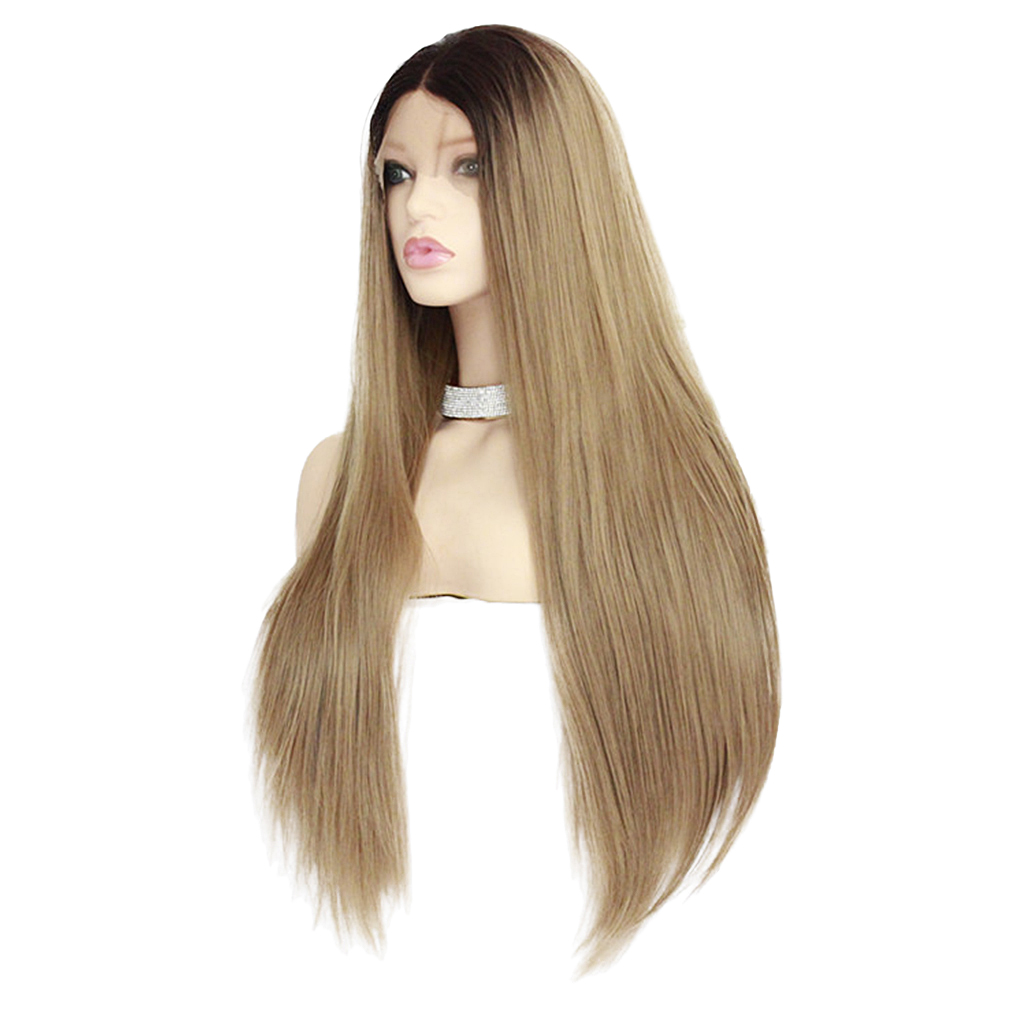 26 inch Synthetic Lace Front Wigs Heat Resistant Full Wig Long Straight Hair Brown long side bang slightly curly lace front synthetic wig